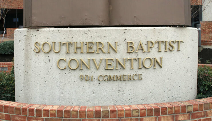 Southern Baptist Convention concrete sign on building