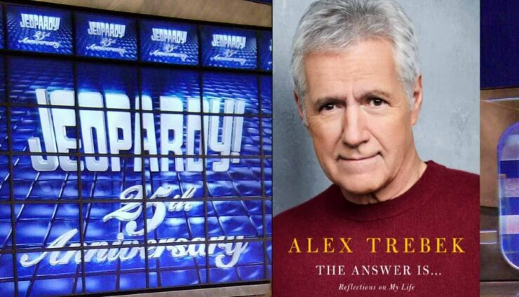 Alex Trebek new book cover and Jeopardy video board